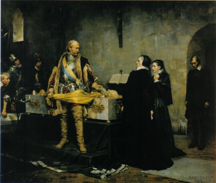 Hertig_Karl_skymfande_Klaus_Flemings_lik,_målning_av_Albert_Edelfelt_från_1878